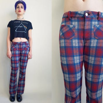 70s Clothing Plaid Pants Vintage 70s Bell Bottom Vintage Pants Disco Pants Blue Red Grey Plaid Pants Hippie Disco Pants Size Small Medium
