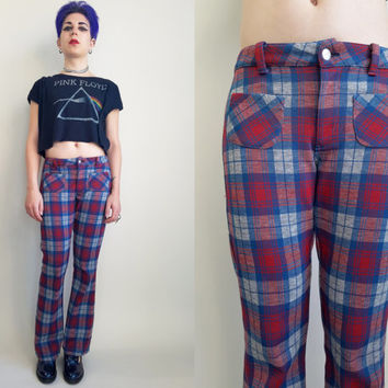 70s Clothing Plaid Pants Vintage Bell Bottom Disco Blue Red Grey