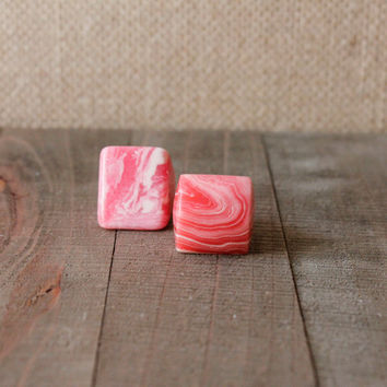 RHODOCHROSITE RING/// Size 5 & 7 Pink White Rhodocrosite Square Rectangle Stone Ring/ Gemstone Unique Natural Stone Ring/ Gemstone Carved