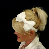 White darling bow stretch headband pinup/retro/feminine