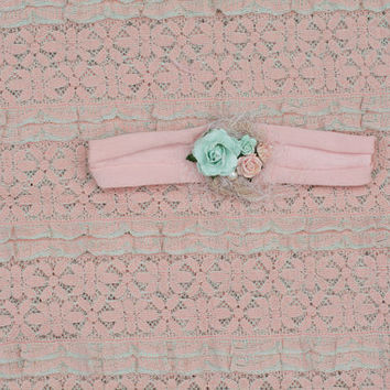 Newborn Layering Set, Layering Piece, Peach and Mint, Baby Photo Prop, Newborn Headband, Peach Layering Set, Ruffle Layer, Jersey Headband