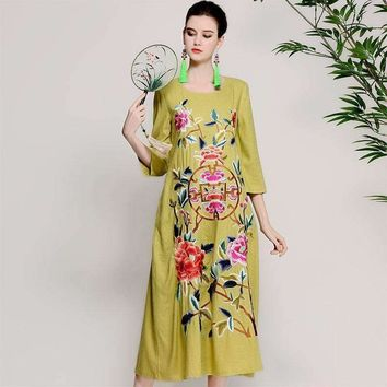 Cotton Linen Dress Ladies Seven Sleeve Loose Round Collar Dress Women's Wind Embroidery Dress
