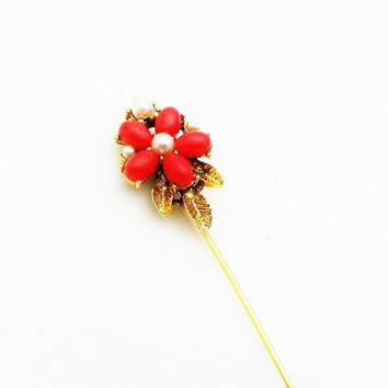 Flower Stick Pin, Floral Pin, Orange Flower Pin With Faux Pearls, Coral, Lapel Pin, Hat Pin, Vintage Flower Jewelry, Collectible Jewelry