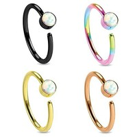 BodyJ4You Nose Ring Hoop Tragus Earring CZ Black Rose Gold Rainbow Stainless Steel 20G Piercing Set 4 Pieces