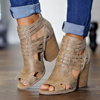 *  Calyca Peep Toe Cutout Heel Booties: Tan