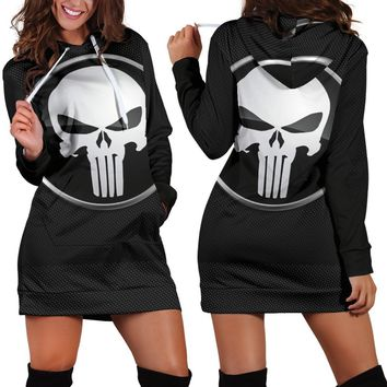 Skull Skulls Halloween Fall Marvel Anime  3D Print Women Dress Long Sleeve Bodycon Hoodies Sweatshirt Dress Autumn Femme Hooded Vestido de festa Jurken Calavera