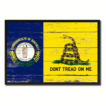 Gadsden Don't Tread On Me Tea Party Kentucky State Military Flag Vintage Canvas Print with Picture Frame Home Decor Man Cave Wall Art Collectible Decoration Artwork Gifts