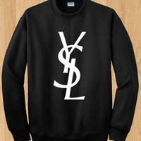 YSL Inspired Logo Crewneck Sweater - Yves Saint Laurent Sweater - Various Sizes Available
