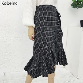Kobeinc Lace Up Wool Skirts Women Korean Ruffles Mermaid Plaid Skirt Vintage High Waist Saia Feminina Casual Faldas For Ladies