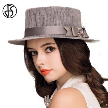 FS Black Gray Flat Top Boater Hats Summer Fedora For Woman Elegant Beach Sun Hat Bow Ribbon Ladies Polyester Gorras Caps