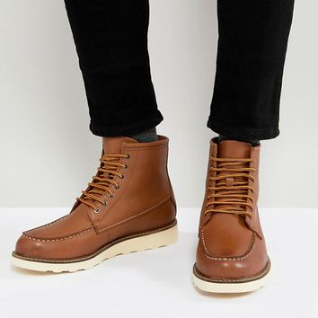 Stradivarius Leather Lace Up Boots In Tan at asos.com