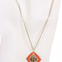 Coral Square Pendent Slender Chain Necklace