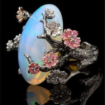 Exquisite 925 Silver White Fire Opal Twig Flower Rings Woman Anniversary Gift