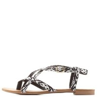 Qupid Tribal Print Strappy Flat Sandals