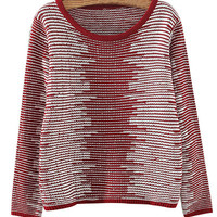 Red Stripe Knit Sweater