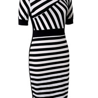 Elegant Women Pinup Striped Bodycon Party Sheath Casual Business Pencil Dress  F_F = 1902700100