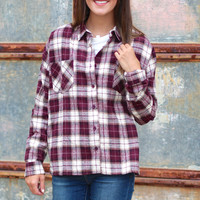 Fall Plaid Flannel {Burgundy}