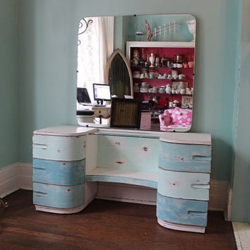 Vanity mid century Aqua Blue Distressed shabby chic  Beach Coastal Cottage Modern Vintage blue turquoise make up table