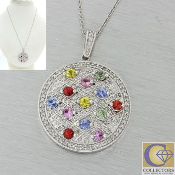 EFFY 14k White Gold Diamond Pave Water Colors Sapphire Disc Pendant Necklace