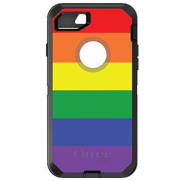 DistinctInk™ OtterBox Defender Series Case for Apple iPhone / Samsung Galaxy / Google Pixel - Rainbow Stripes Gay Pride