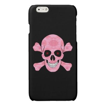 Pink Camo Skull And Crossbones iPhone 6 Case Glossy iPhone 6 Case