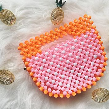 Grapefruit Ark Bambo Style Handbag Beaded Box Clutch Bag