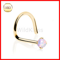 14kt Solid Gold Ring Screw Nose Ring Opalite Prong Set Opal Solid Yellow Gold