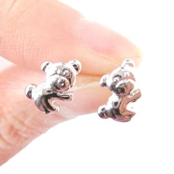 Cute Koala Teddy Bear Shaped Animal Themed Stud Earrings in Silver | DOTOLY
