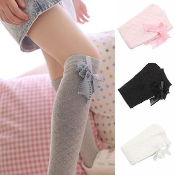 Lovely Baby Kids Girls Bowknot Cotton Plaids Stockings School High Knee Stockings