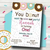 Donut Birthday Party Invitation - Donut Invitation - First Birthday Invitation - Any age Party Invitation - PRINTABLE - Donut Party