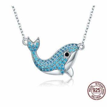 925 Sterling Silver Blue Whale Blue Crystal Pendant Necklace