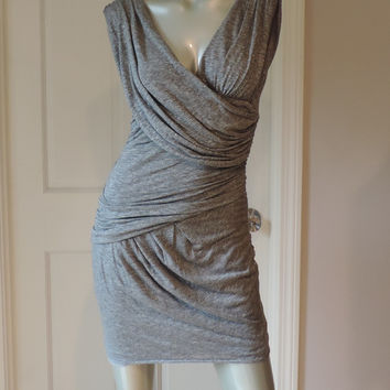 Black Halo Body Con Gray Dress Small New Jersey Grecian Drape Mini