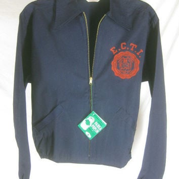 1950s 1960s Champion Erie County Technical Institute Vintage College NWT Dead stock Poplin Parka Coat