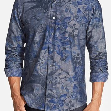 Men's Bugatchi Shaped Fit Floral Chambray Sport Shirt