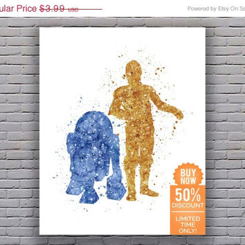 Star Wars Print R2D2 and C3PO Star Wars Art Star Wars Artwork Star Wars Wall Art Star Wars Decor Watercolor Wall Art Digital Download Art