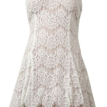 Betsy & Adam Women's V-Neck Lace Tulle-Hem Dress