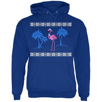 Flamingo Winter Ugly Christmas Sweater Mens Hoodie