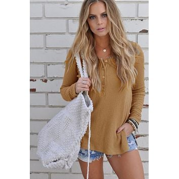 Long Sleeves Side Split Knitting Tops