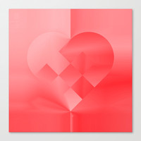 Danish Heart Love Canvas Print by Gréta Thórsdóttir  #love #heart #girly #Christmas #red #scarlet #ombre #pattern #valentine