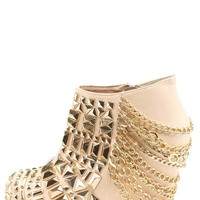 Privileged Rivoli Blush Studded Chain Hidden Platform Wedge Booties and Shop Boots at MakeMeChic.com