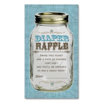 Mason Jar Baby Boy Blue Diaper Raffle Ticket