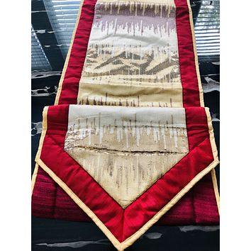 """16"""" x 72"""" Hand Sequence and Embroidered Design Organza Table Runner or Topper with Tassels"""