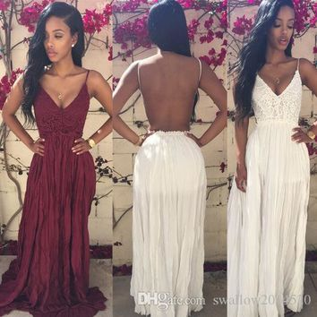 Fashion new arrival women's dress Ladies Sexy Strap V-Neck Lace Floral High Elastic Waist Backless Chiffon Maxi Party Beach Long Dress
