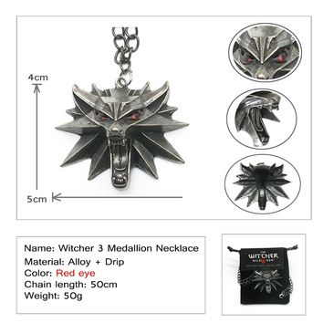 Fashion Video Game Witcher 3 Medallion Pendants Necklace Wolf Head Wizard Halloween Necklace&Pendants  with Card