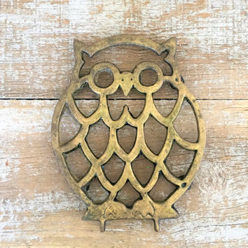 Trivet Brass Owl Hot Plate Brass Trivet Mid Century Kitchen Mid Century Owl Hot Plate Hollywood Regency Decor Small Brass Plant Stand