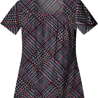 Gen Flex by Dickies Womens Junior Square Neck Print Scrub Top