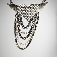 Bling Heart Wings Chain Necklace