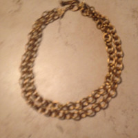 Vintage Brass Necklace Waterfall Draping Link Duel Strand Boho Jewelry