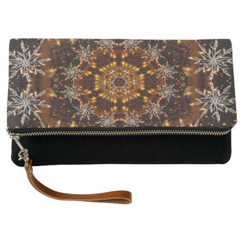 Golden Snowflakes Kaleidoscope Clutch