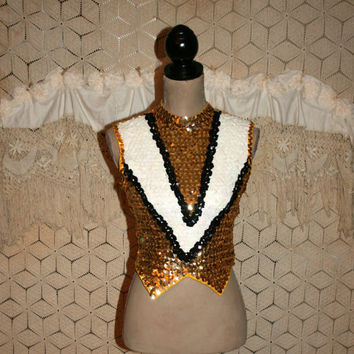 Vintage Majorette Costume Marching Band Gold Sequin Top Halloween Costume Vintage Clothing XS Womens Clothing